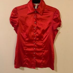 "Tops - 5/25 Red ""silk"" blouse w/ puff sleeves"